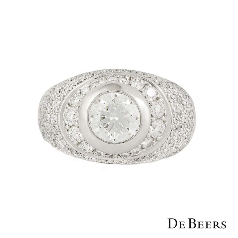 De Beers 18k White Gold XXX Round Brilliant Cut Diamond Ring 1.86ct G/VS2